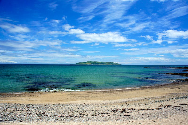 A view of Lambay Island on a sunny day from the mainland.