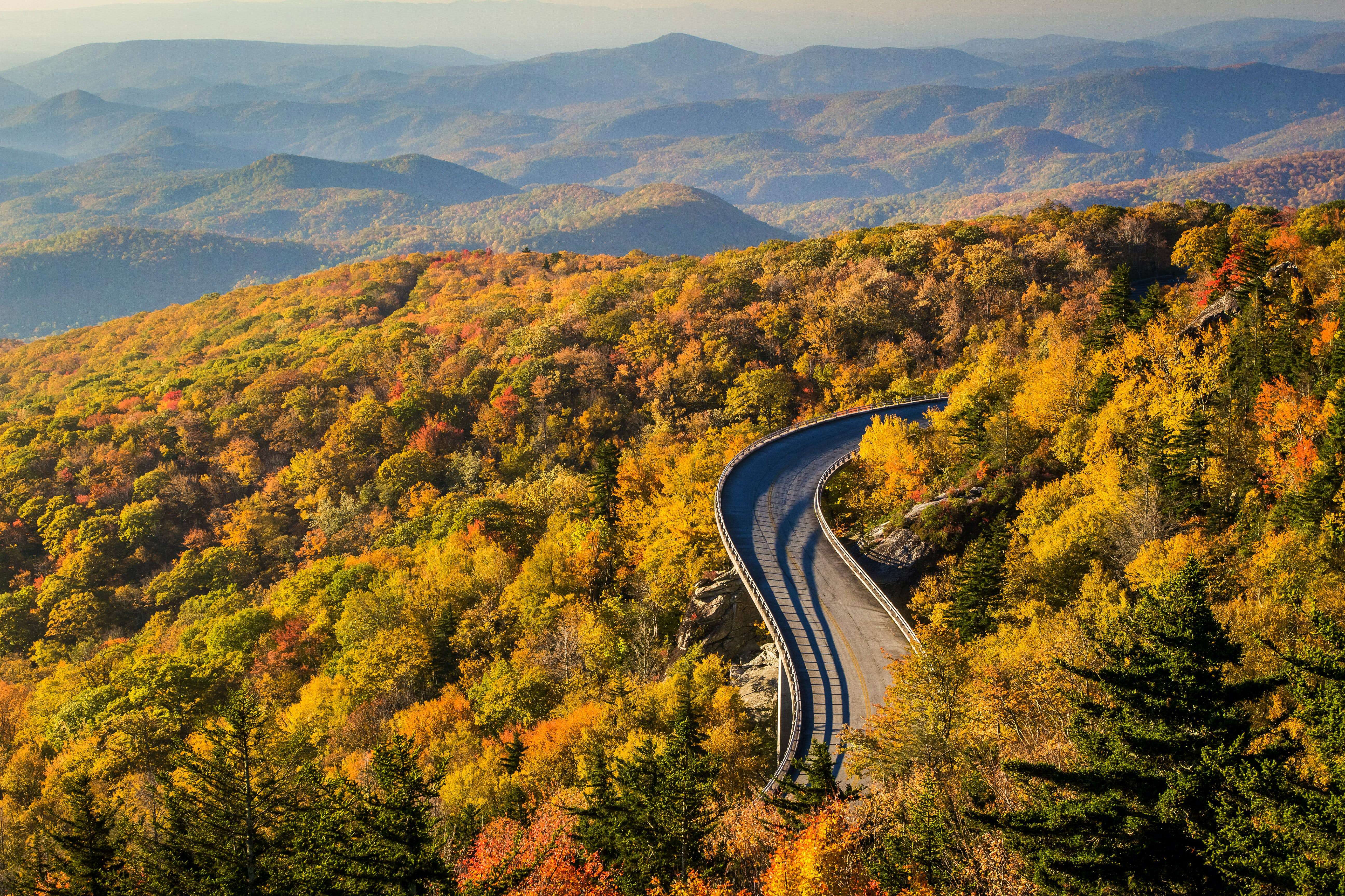 The Linn Cove Viaduct during an Autumn sunrise on the Blue Ridge Parkway