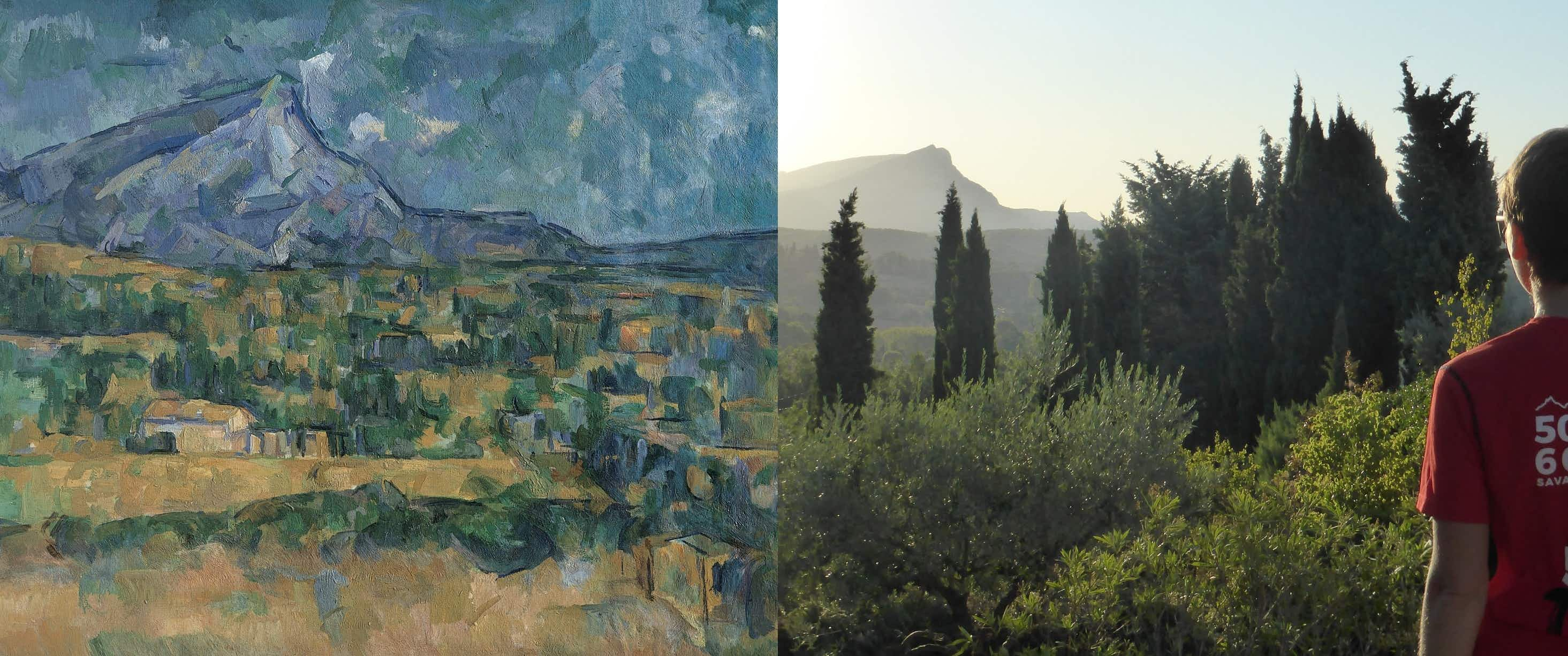 One of Paul Cézanne's paintings of Mont Sainte Victoire; Alecsa's view from Aix-en-Provence © Paul Cézanne; © Doug Stewart / Lonely Planet