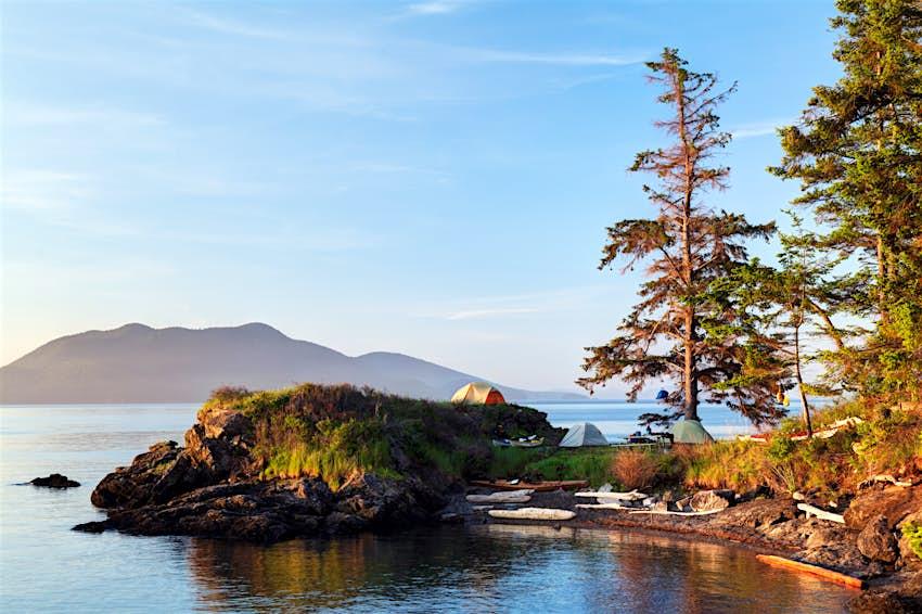 Tents on the waterfront on the San Juan Islands, Washington