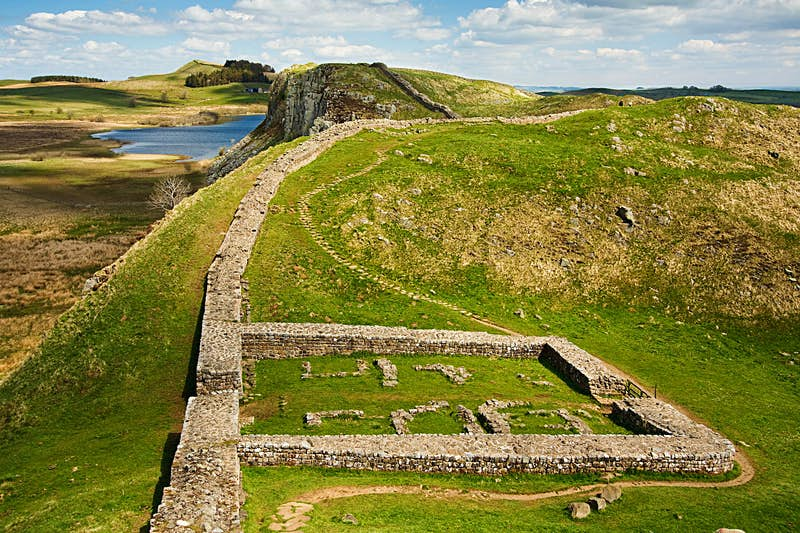 Milecastle 39 part of Hadrians Wall in Northumberland on the Scottish Border