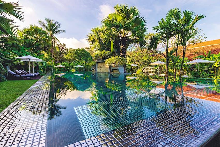 Bể bơi nằm trong khu vườn xanh mướt rợp bóng cọ