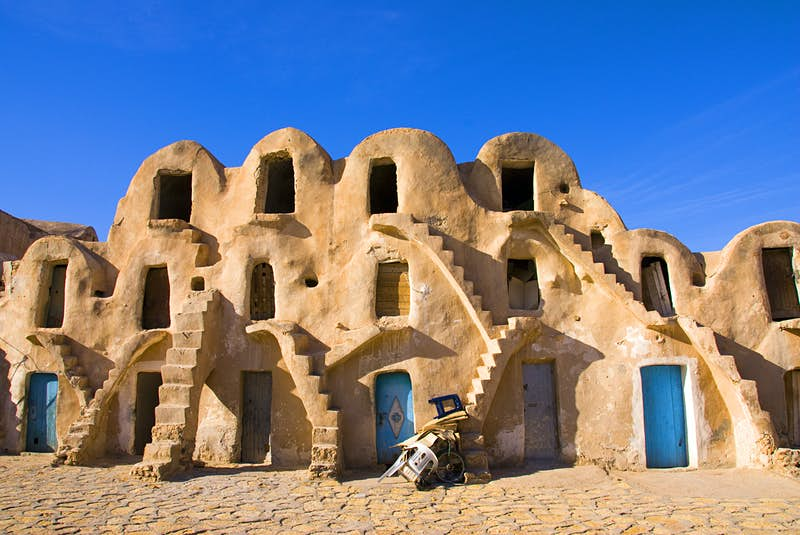 A stacked Ghorfa home in Tunisia.