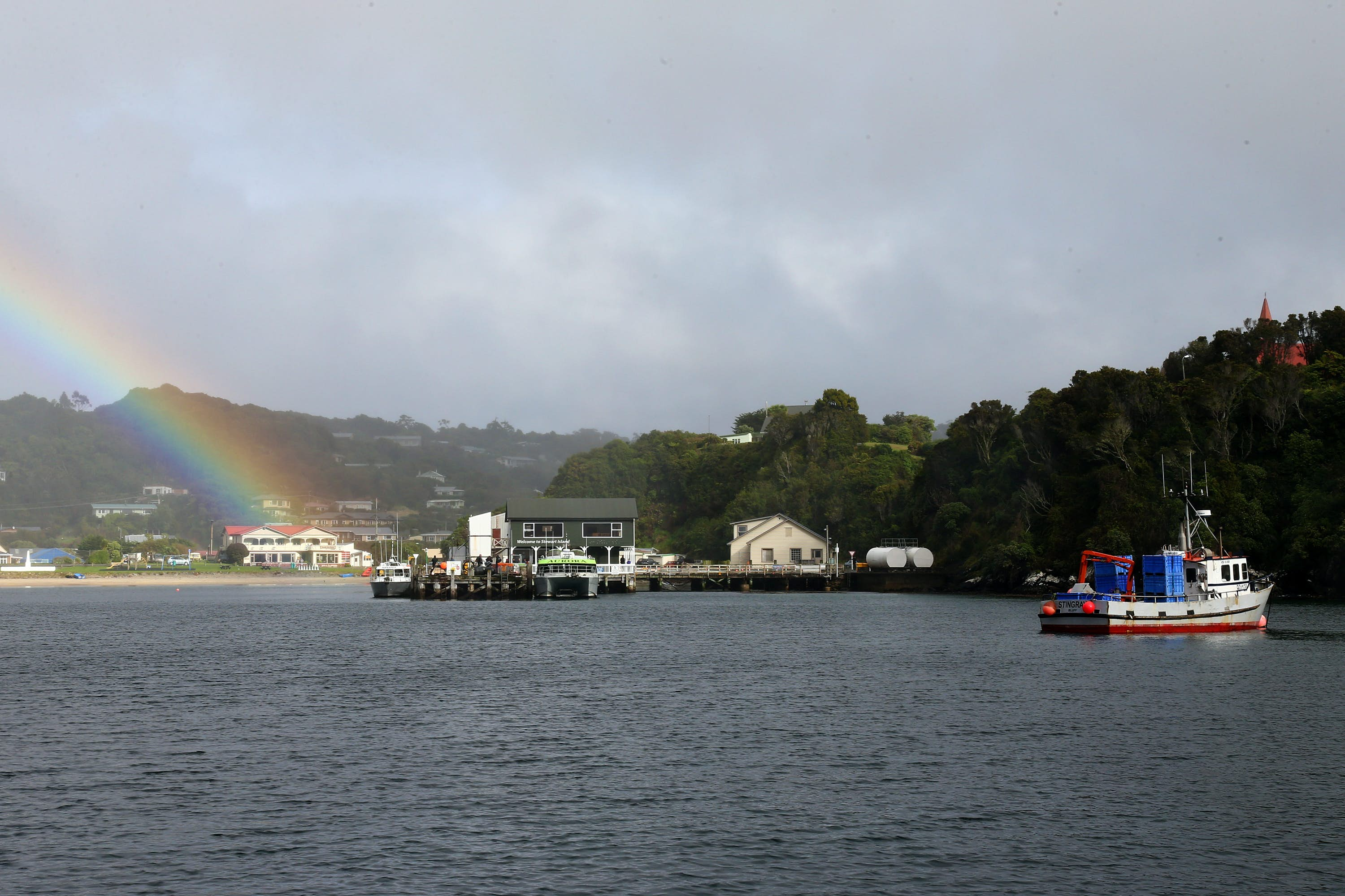 A white and red fishing boat pulls into the harbor near Oban, New Zealand on the right side of the frame as a rainbow illuminates the white buildings and dock on the right side of the frame. The ocean is a deep slate blue and the sky is a light grey. The green forested hillsides along the shore are dotted with small white structures and red peaked roofs