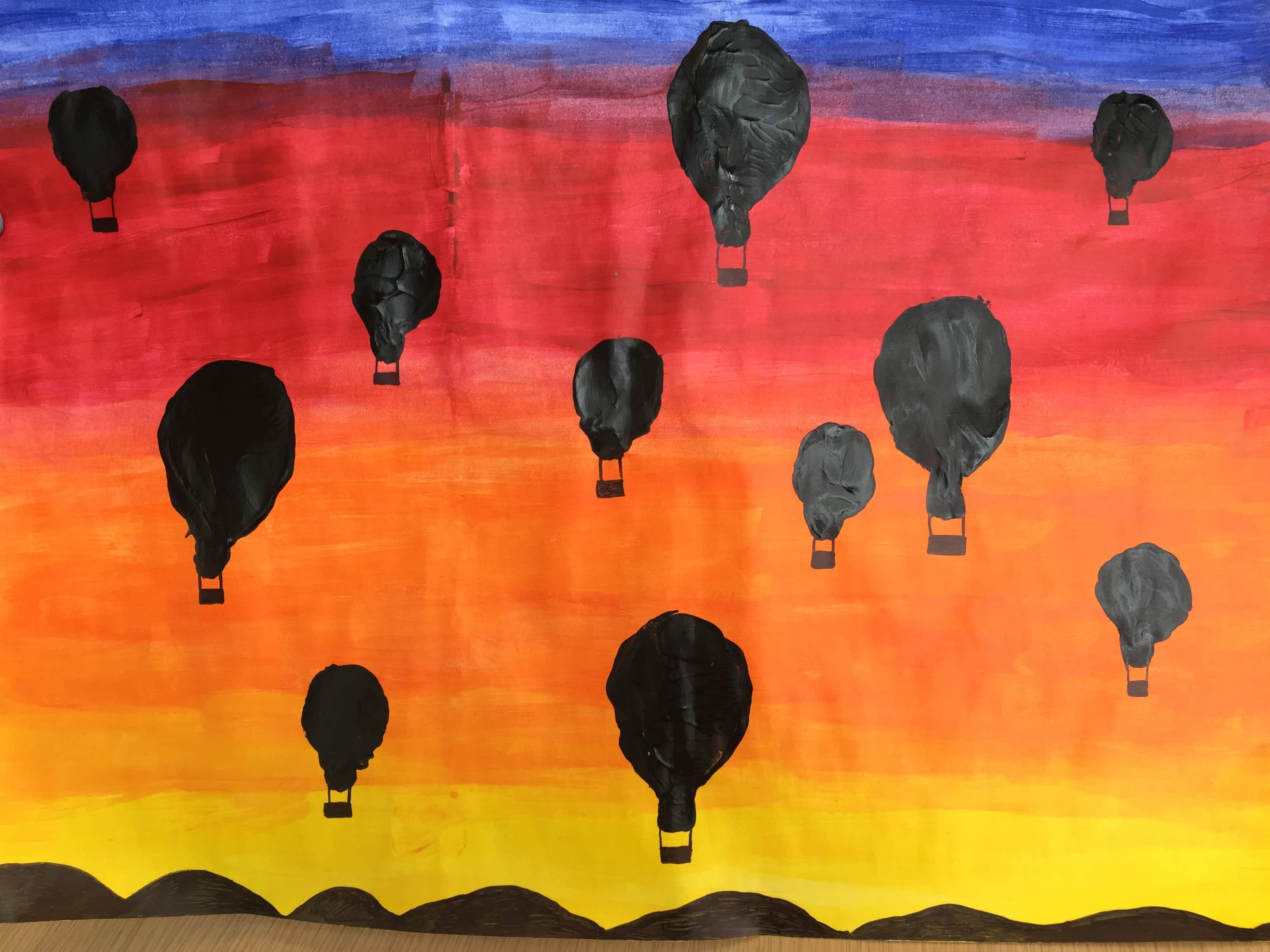 Rainy day activity: hot-air balloon potato stamps