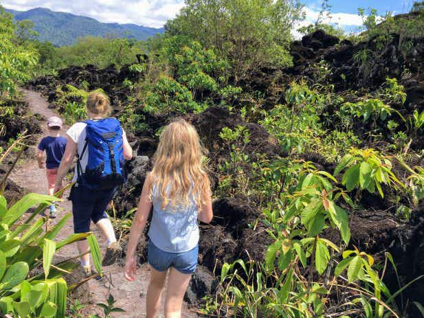 Family travel snap: hiking lava fields in Costa Rica