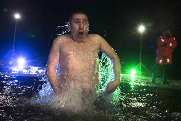 Russians take plunge in icy waters for Theophany