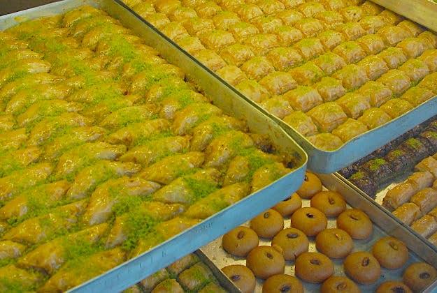 Traditional baklava in Istanbul, Turkey.