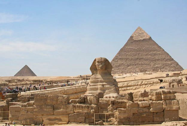 Tourists at the Pyramids of Giza.