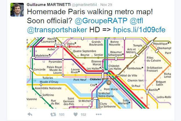 Unofficial map shows walking distances between Paris metro stations