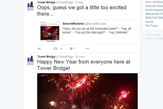 London's Tower Bridge jumps the New Year gun!