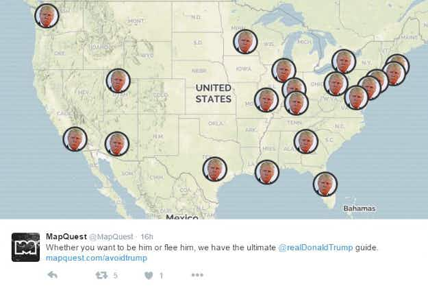 MapQuest releases Donald Trump-themed map