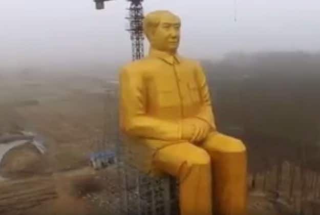Giant gold statue of Chairman Mao unveiled in China