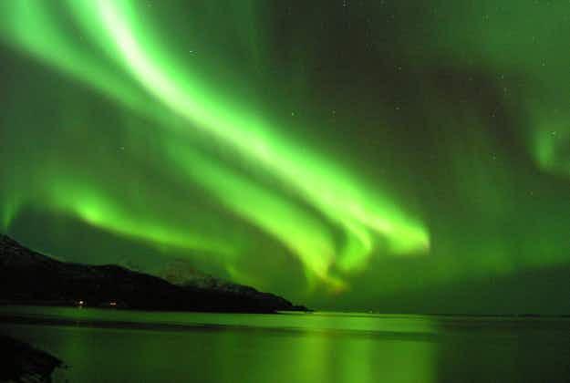 Tromso paraglider dances under Northern Lights