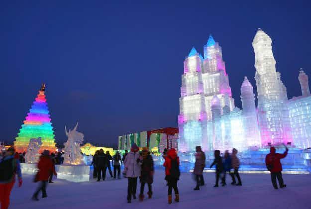 Snowtacular: annual Harbin illuminated ice sculptures go on show