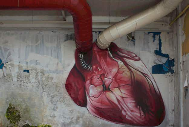 Realistic beating heart painting goes viral in Croatia