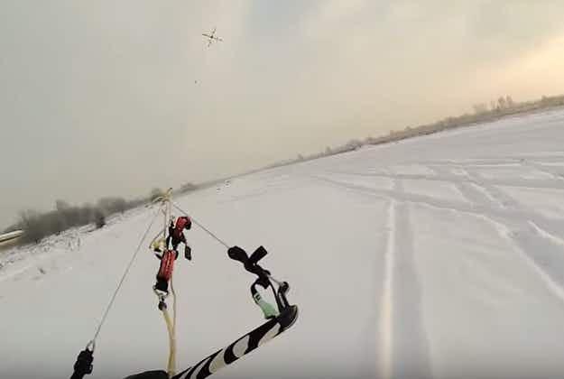Adrenaline junkie goes drone-boarding in Latvia