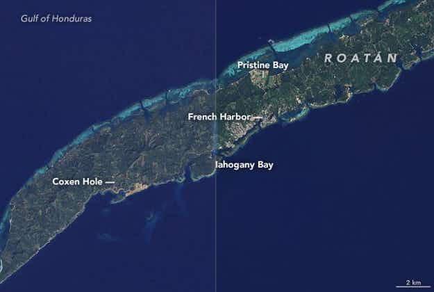 NASA satellite images show tourism impact on Honduran island