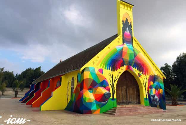 Kaleidoscope transformation: Spanish street artist makes over Morroccan church