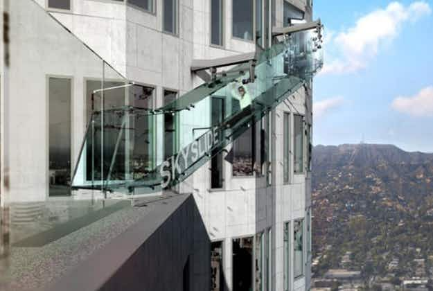 A glass slide at 1000 feet anyone?  LA's newest 'Skyslide' set to open this summer