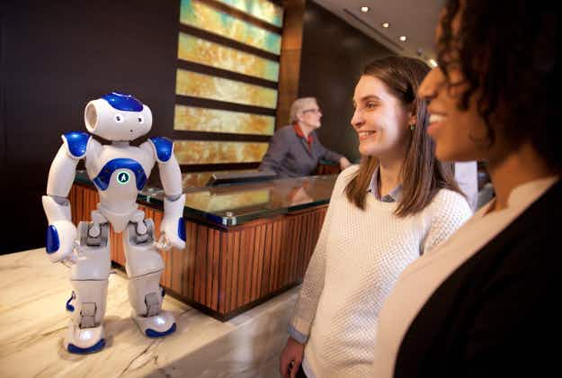Connie's here to help: robot concierge assists guests at McLean, Virginia Hilton hotel