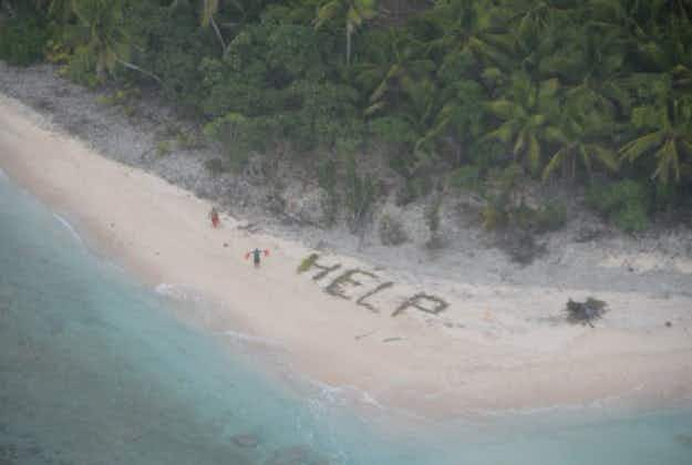 Three men rescued from island in Micronesia after spelling 'HELP' with palm leaves