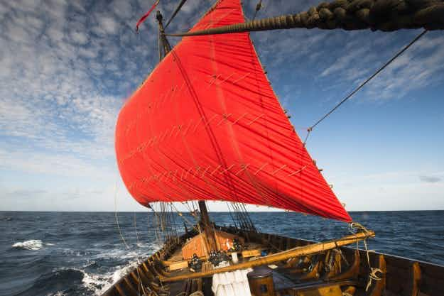 Modern Viking ship sets sail across the North Atlantic from Norway to America