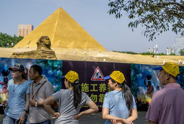 Chinese movie studio tears down it's replica sphinx at Egypt's request