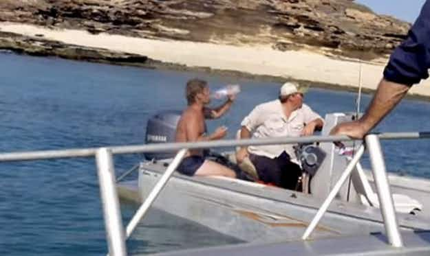 Watch as fisherman stranded on remote Australian island is discovered and rescued  by film crew