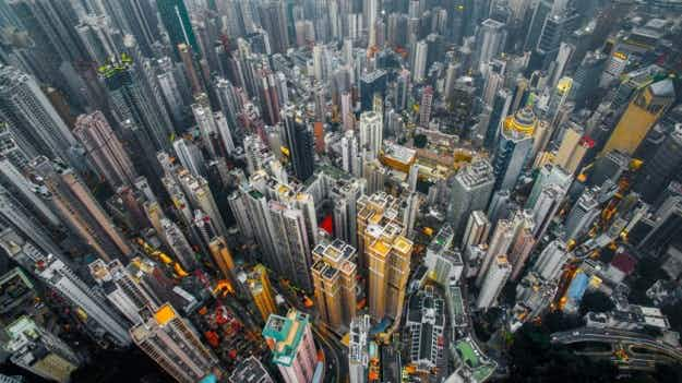 Skyscrapers seen from above: breathtaking photos of Hong Kong's skyline taken in the blue hour