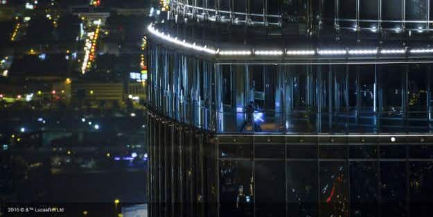 Jedi battle on Dubai's Burj Khalifa to promote the digital release of Star Wars: the Force Awakens