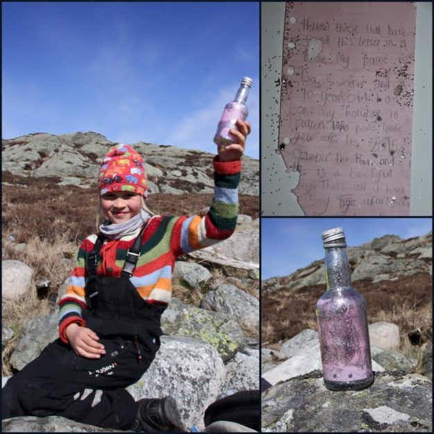 A message in a bottle thrown into the sea in Scotland is found by a seven-year-old girl in Norway