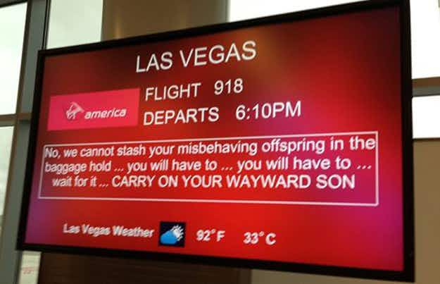 Virgin America employee shares the funny messages he posts for waiting passengers