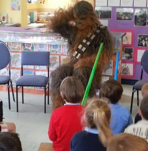 """Are you real?"" Chewbacca takes a break from Star Wars shoot and goes back to school in Kerry"