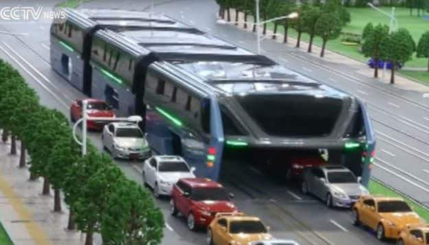 Check out the Transit Elevated Bus –  that glides over traffic and could solve China's travel woes