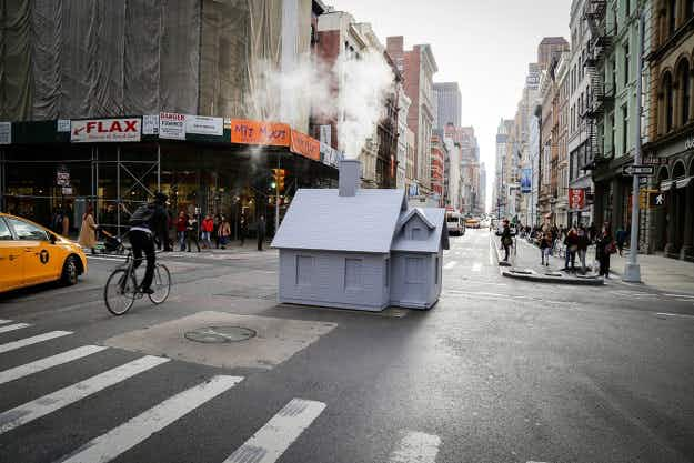 See the tiny houses blowing off steam in the centre of New York's busy streets
