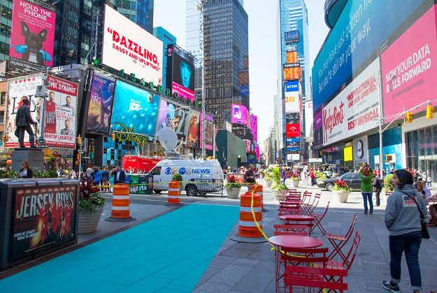 New Times Square zones for performers and pedestrians are painted on New York pavements