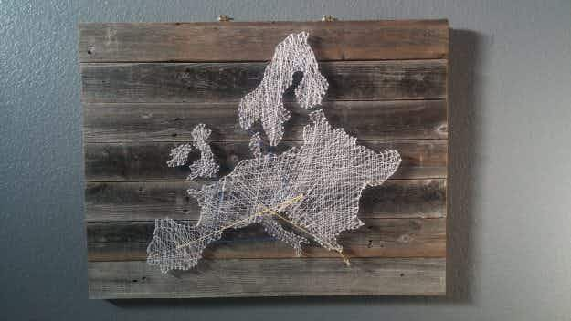 Couple create stunning string and nail map of Europe to mark off adventures