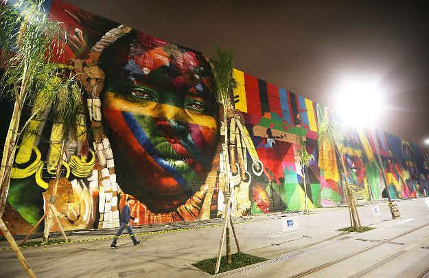 Brazilian street artist is set to break a world record with Olympic mural in Rio de Janeiro