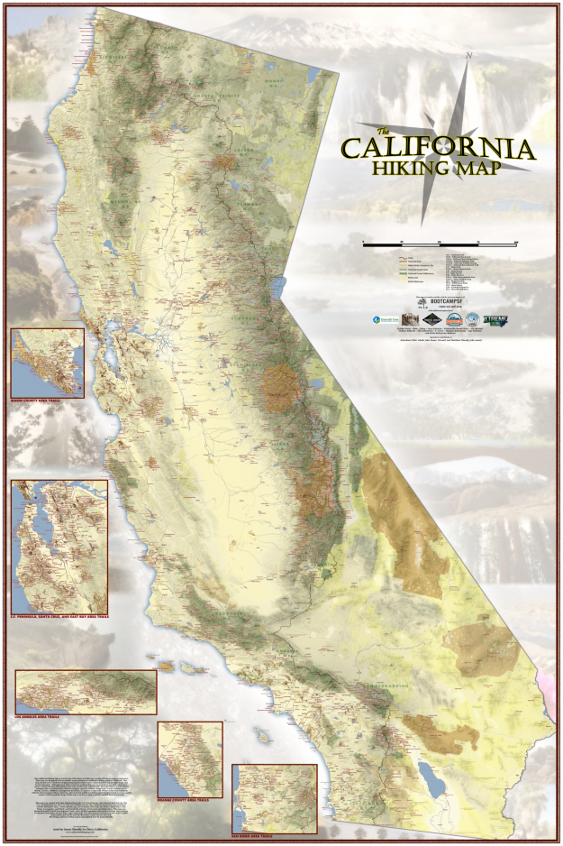 This gigantic map helps you find nearly every hiking trail in California