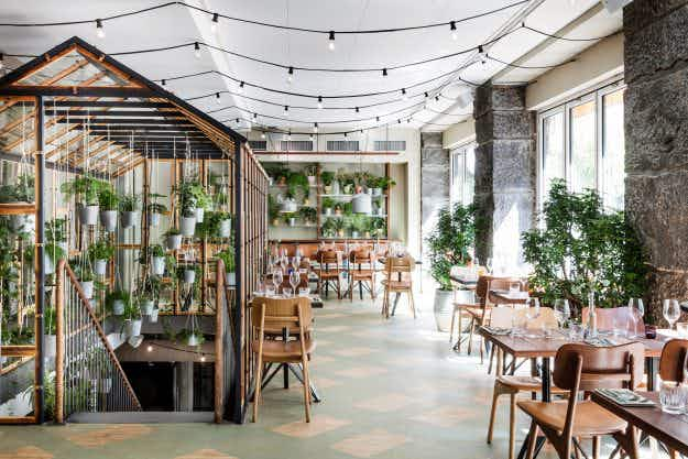Glorious greenhouse adorns new recycling inspired restaurant Vakst in Copenhagen