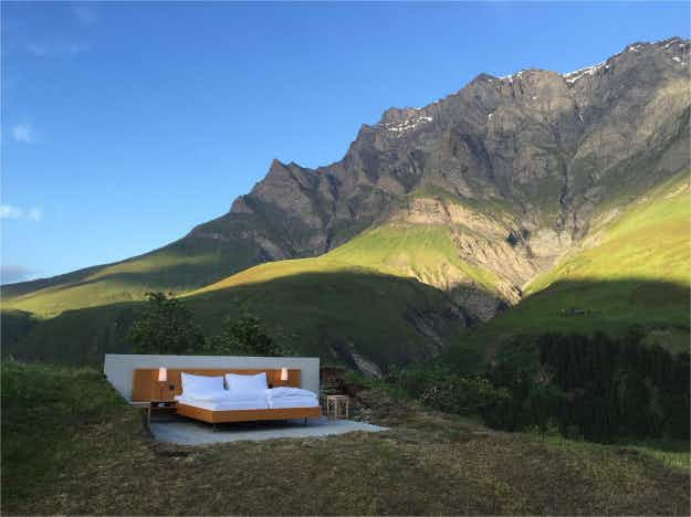 Nothing stands between you and the view at this new open-air hotel in Switzerland