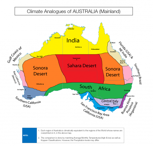 Colourful climate comparison maps show the surprising similarities between countries