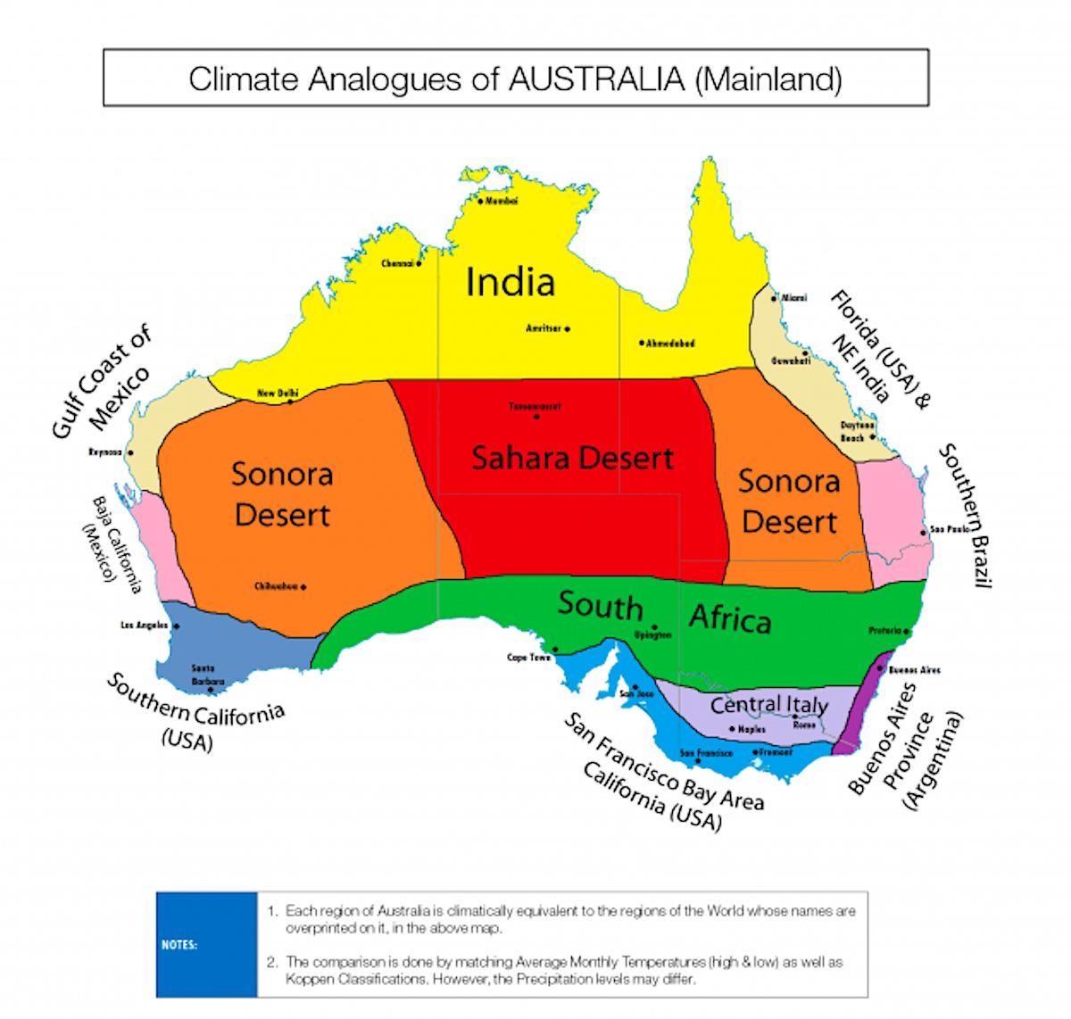 Africa Map Comparison.Colourful Climate Comparison Maps Show The Surprising