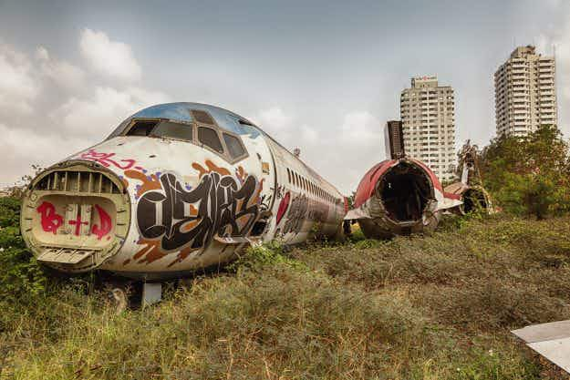 A graveyard for abandoned jets in Bangkok has become an unlikely tourist attraction