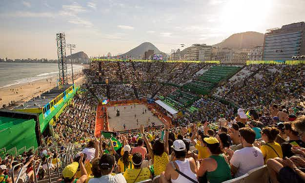 The beach volleyball arena at Copacabana is one of Rio's most vibrant Olympic venues