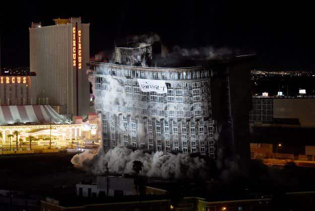 Final tower of famous Riviera Hotel and Casino in Las Vegas is demolished