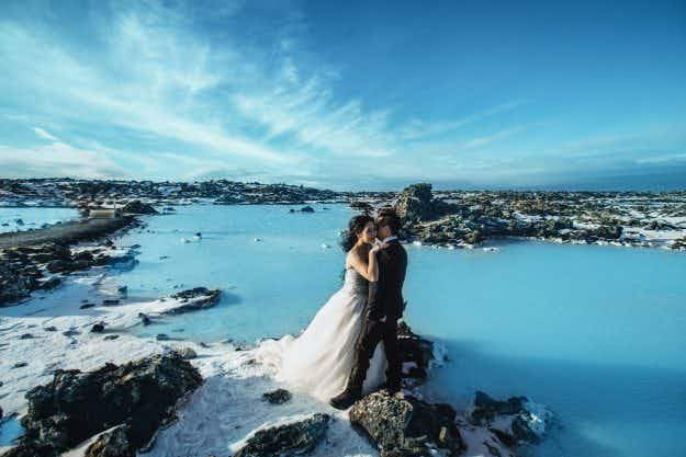 Take a look at one couple's extravagant Icelandic engagement photo shoot