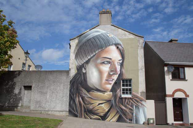 Buildings of Irish town taken over by 40 street artists for Waterford Walls festival