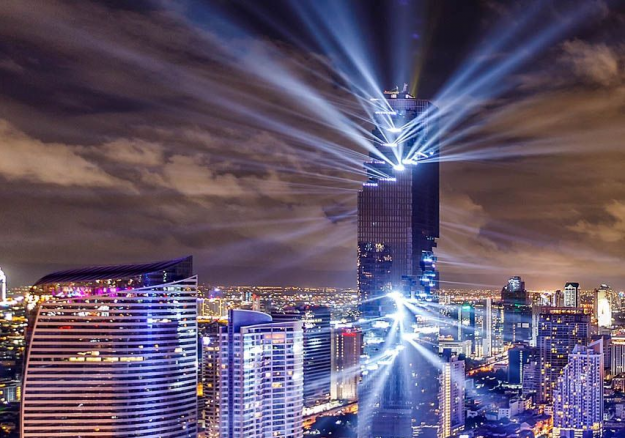 Thailand's tallest tower celebrates completion with landmark light show